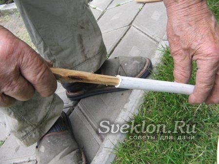 соединить деревянные вкладыши и трубы