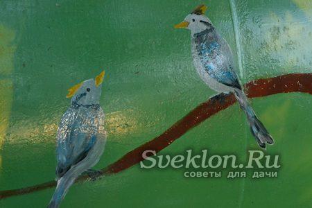 рисунок птичек кисточкой