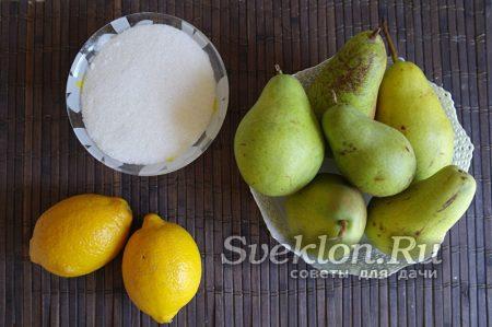 Ингредиенты для варенье из груши с лимоном