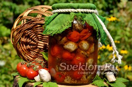 запеченные шампиньоны и помидоры в банке на зиму