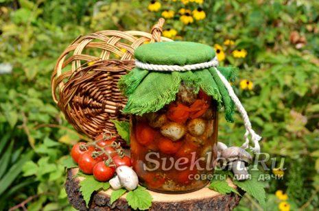 запеченные помидоры и грибы на зиму