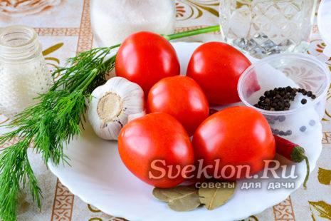 ингредиенты для малосольных помидоров