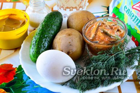 Ингредиенты на окрошку с килькой
