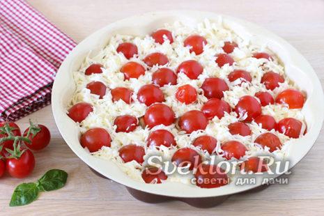добавить верхний слой сыра и отправить в духовку