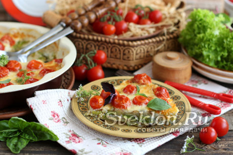 запеканка из кабачков с помидорами-черри и сыром