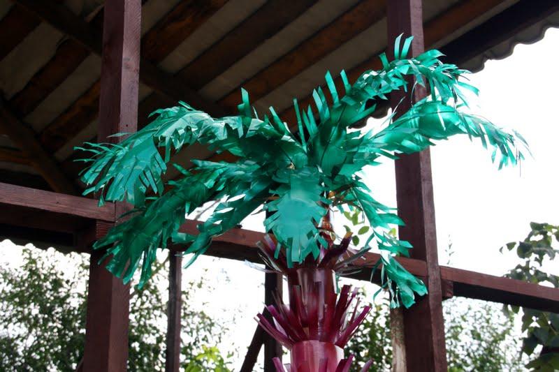 готовая пальма из цветных бутылок