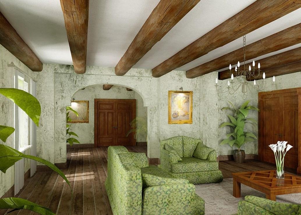 Потолок с балками в деревянном доме в интерьере: как обыграть чтобы казался выше, дизайн фото